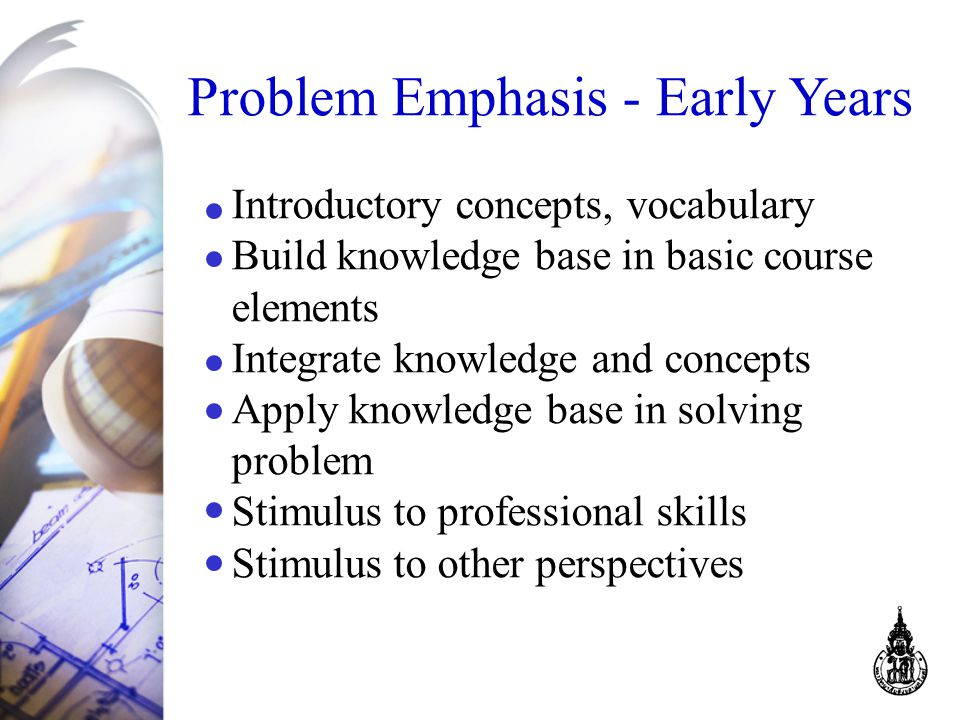Problem Emphasis - Early Years Introductory concepts, vocabulary Build knowledge base in basic course elements Integrate knowledge and concepts Apply knowledge base in solving problem Stimulus to professional skills Stimulus to other perspectives