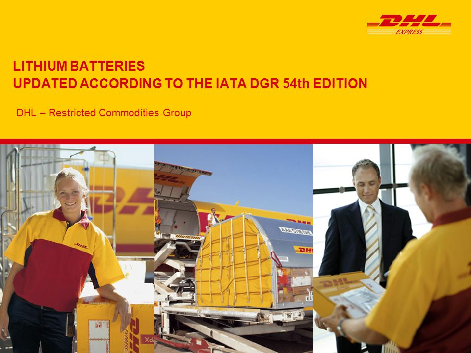 Restricted Commodities Group   January 2013 LITHIUM BATTERIES UN3090, Lithium Metal Batteries - Packing Instruction 968 Section IB Packaging Package Tests DocumentationLabeling DHL Product Each Battery must be individually packed in an inner package (plastic blister wrap, pasteboard, etc.) that protects each from a short circuit Strong outer package Maximum 2.5 kg gross weight per package for PAX & CAO PAX = Passenger aircraft CAO = Cargo aircraft 1.2m drop tested The following statement is required on the waybill: UN3090 Lithium Metal Batteries PI968 IB The number of packages and the gross mass of each package An accompanying document which states the following: Handle with care.