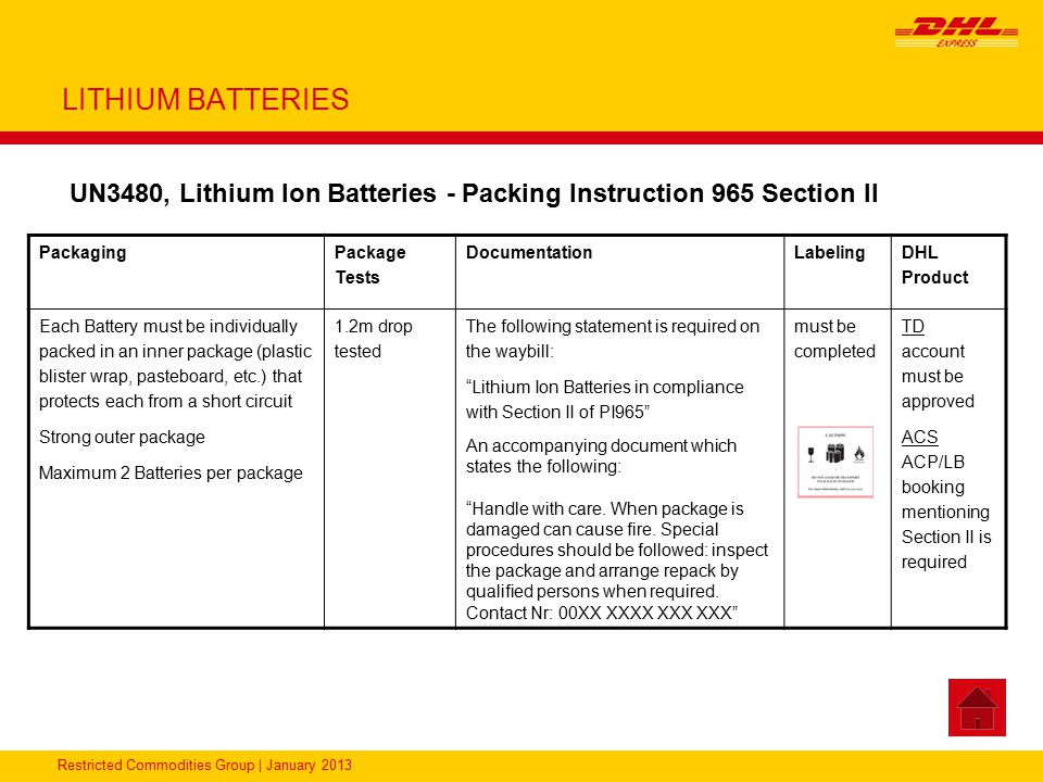 Restricted Commodities Group | January 2013 LITHIUM BATTERIES UN3480, Lithium Ion Batteries - Packing Instruction 965 Section II Packaging Package Tes