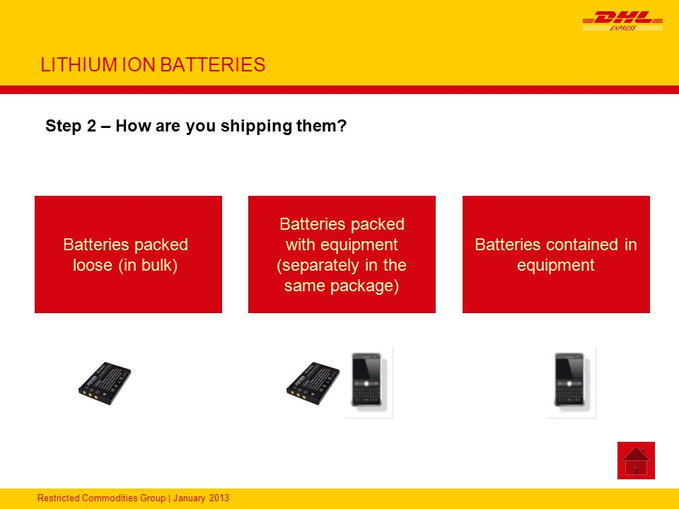 Restricted Commodities Group | January 2013 LITHIUM ION BATTERIES Step 2 – How are you shipping them? Batteries packed loose (in bulk) Batteries packe