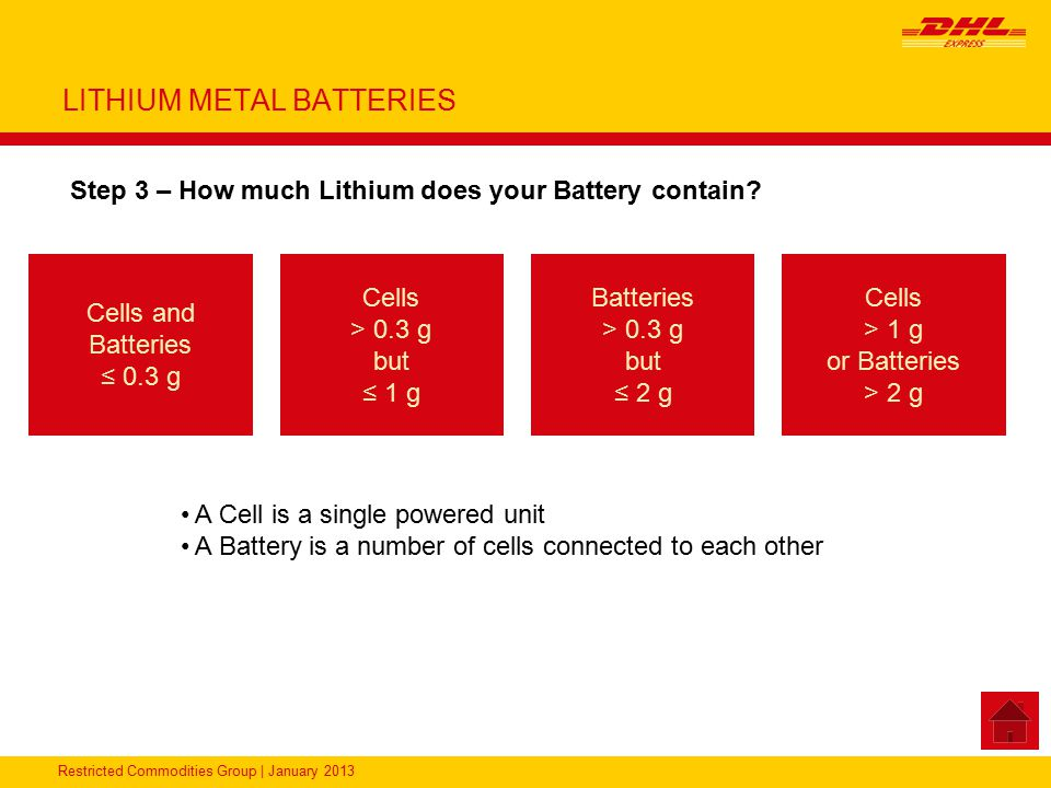 Restricted Commodities Group | January 2013 LITHIUM METAL BATTERIES Step 3 – How much Lithium does your Battery contain? Cells and Batteries ≤ 0.3 g A