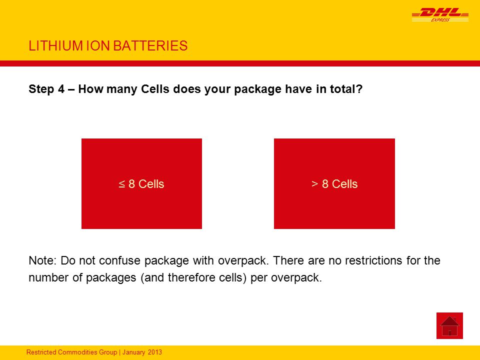 Restricted Commodities Group   January 2013 LITHIUM BATTERIES UN3480, Lithium Ion Batteries - Packing Instruction 965 Section IA Packaging Package Tests DocumentationLabeling DHL Product Available Each Battery must be protected against a short circuit UN-Packaging Maximum 5 kg gross weight for PAX shipments Maximum 35 kg gross weight for CAO shipments PAX = Passenger aircraft CAO = Cargo aircraft Packing Group II performance standards Shipper's Declaration Master Air Waybill (CAO if applicable) ACS only ACP/D booking required as PAX/CAO Section IA not available in PL