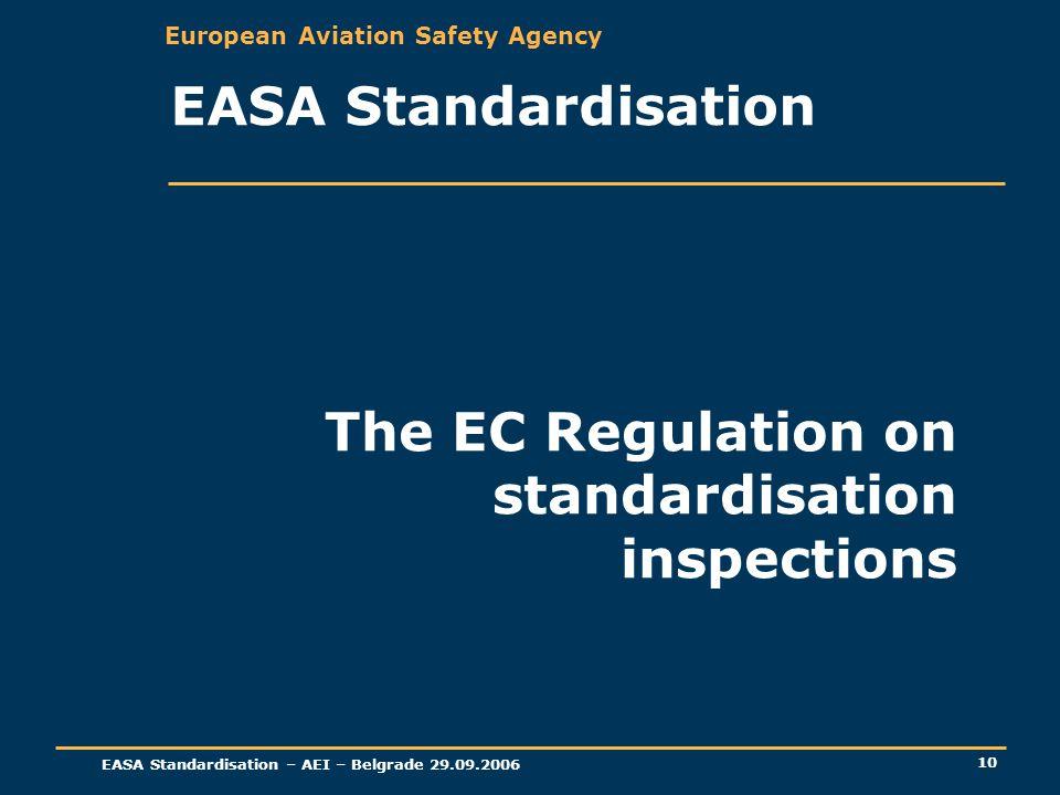European Aviation Safety Agency EASA Standardisation – AEI – Belgrade 29.09.2006 10 The EC Regulation on standardisation inspections EASA Standardisat
