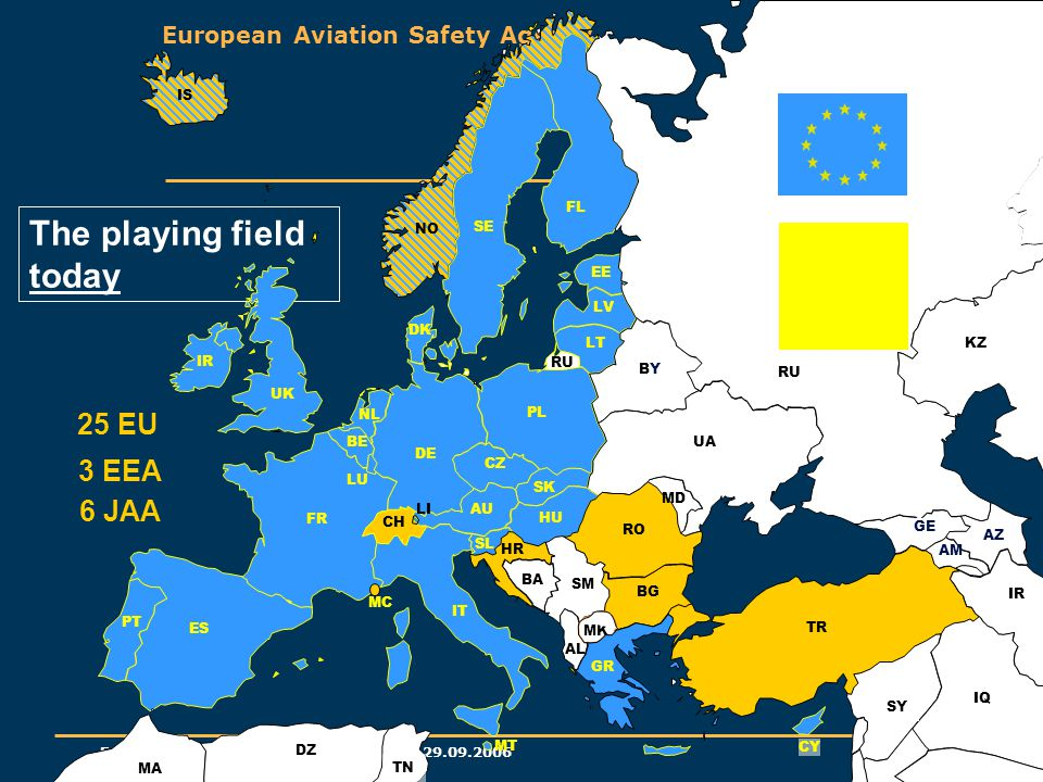 European Aviation Safety Agency EASA Standardisation – AEI – Belgrade 29.09.2006 23 The playing field today FL IS GE AM AZ EE UA MD TR CY FR LV LT BE