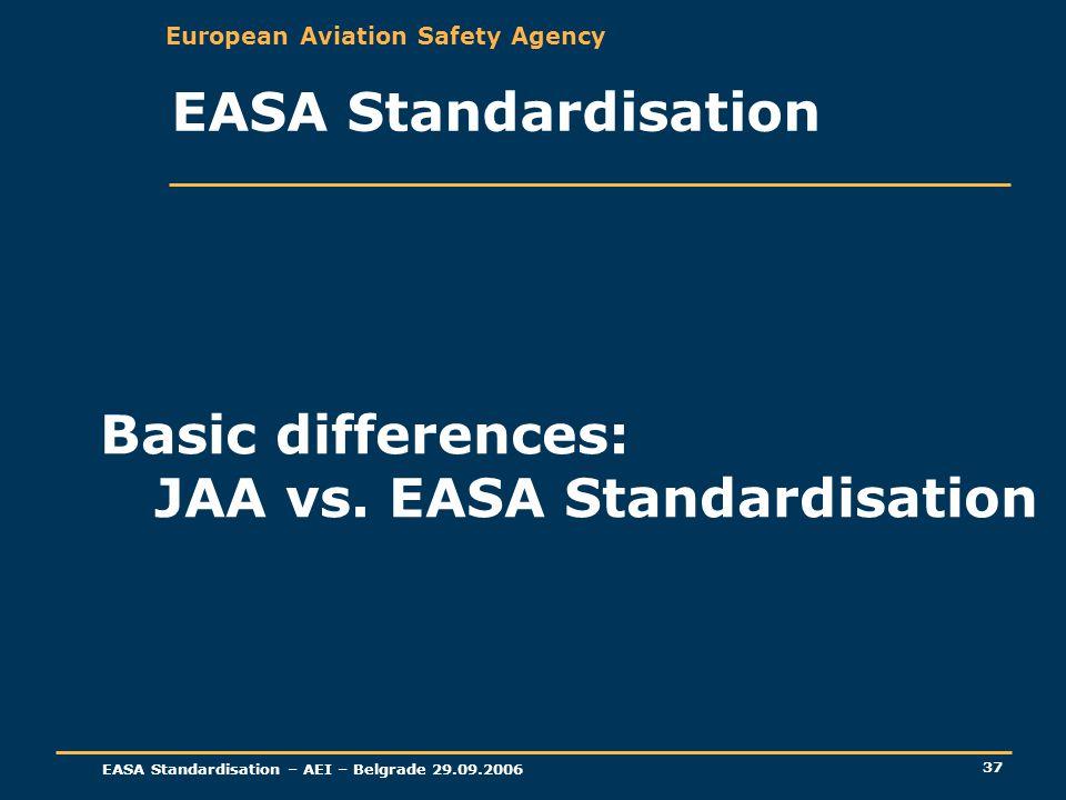 European Aviation Safety Agency EASA Standardisation – AEI – Belgrade 29.09.2006 37 EASA Standardisation Basic differences: JAA vs. EASA Standardisati