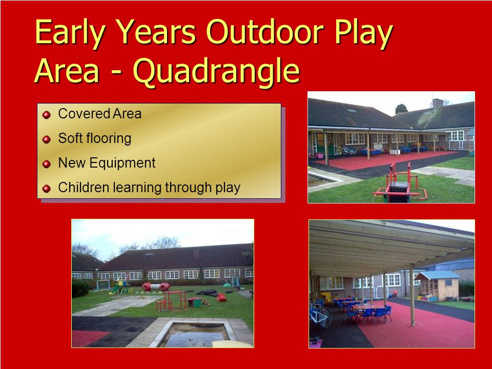 Covered Area Soft flooring New Equipment Children learning through play Covered Area Soft flooring New Equipment Children learning through play Early Years Outdoor Play Area - Quadrangle