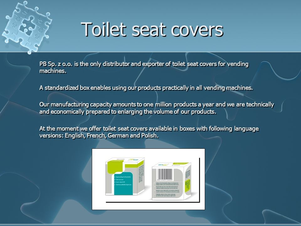 Toilet seat covers PB Sp. z o.o. is the only distributor and exporter of toilet seat covers for vending machines. A standardized box enables using our