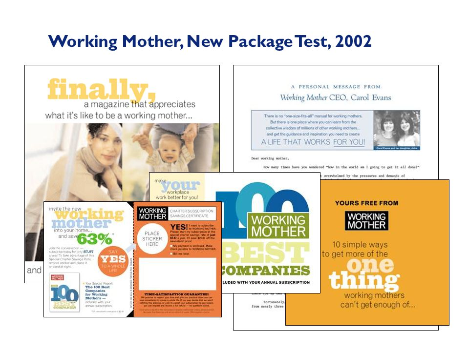 Working Mother, New Package Test, 2002