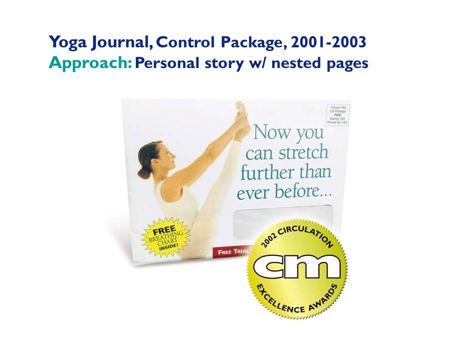 Yoga Journal, Control Package, 2001-2003 Approach: Personal story w/ nested pages
