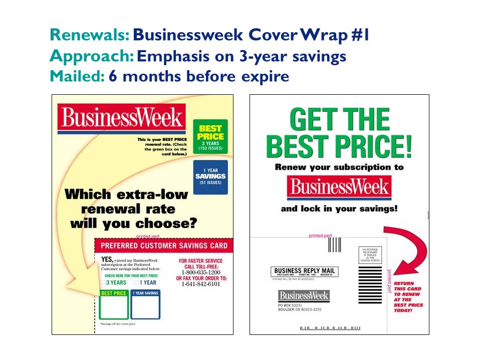 Renewals: Businessweek Cover Wrap #1 Approach: Emphasis on 3-year savings Mailed: 6 months before expire