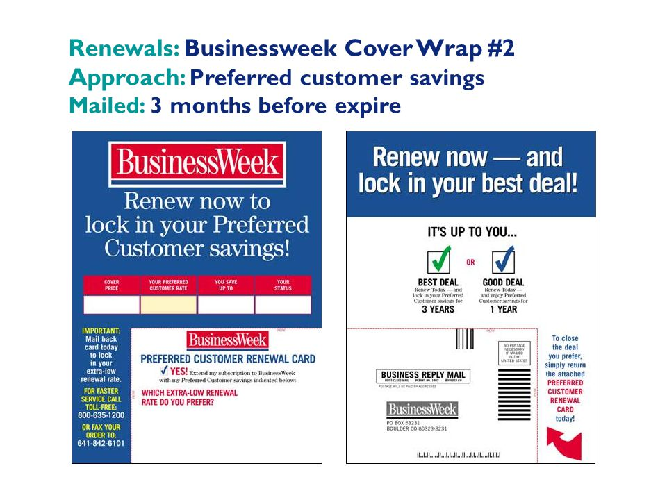 Renewals: Businessweek Cover Wrap #2 Approach: Preferred customer savings Mailed: 3 months before expire