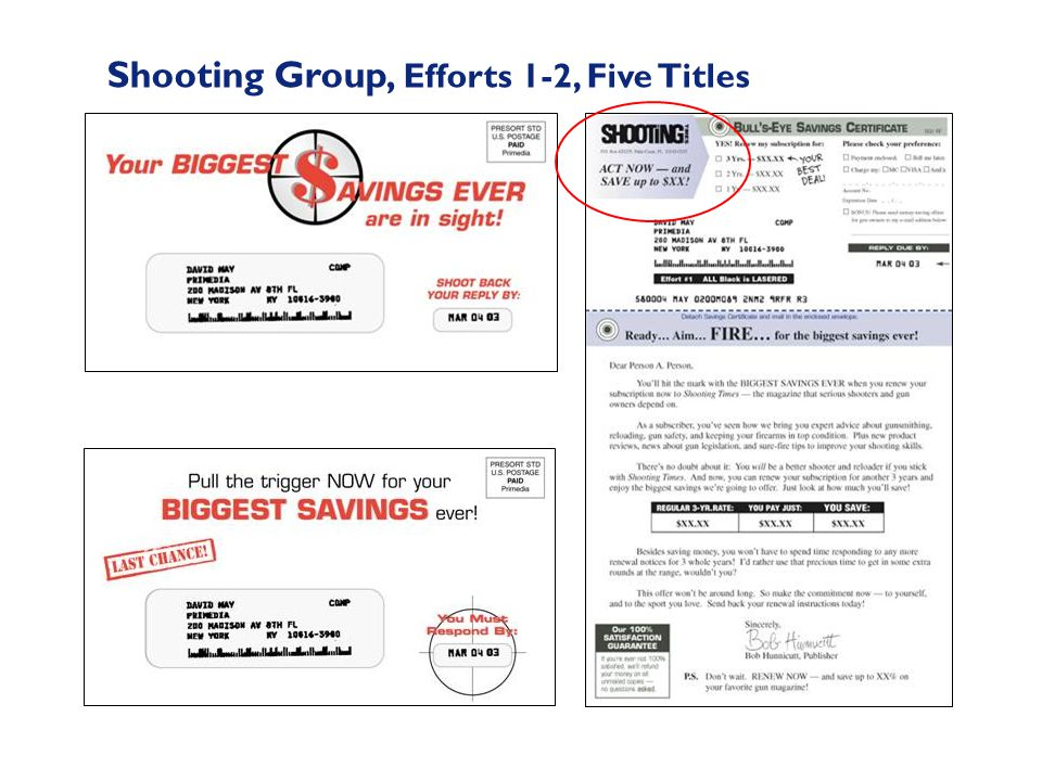 Shooting Group, Efforts 1-2, Five Titles