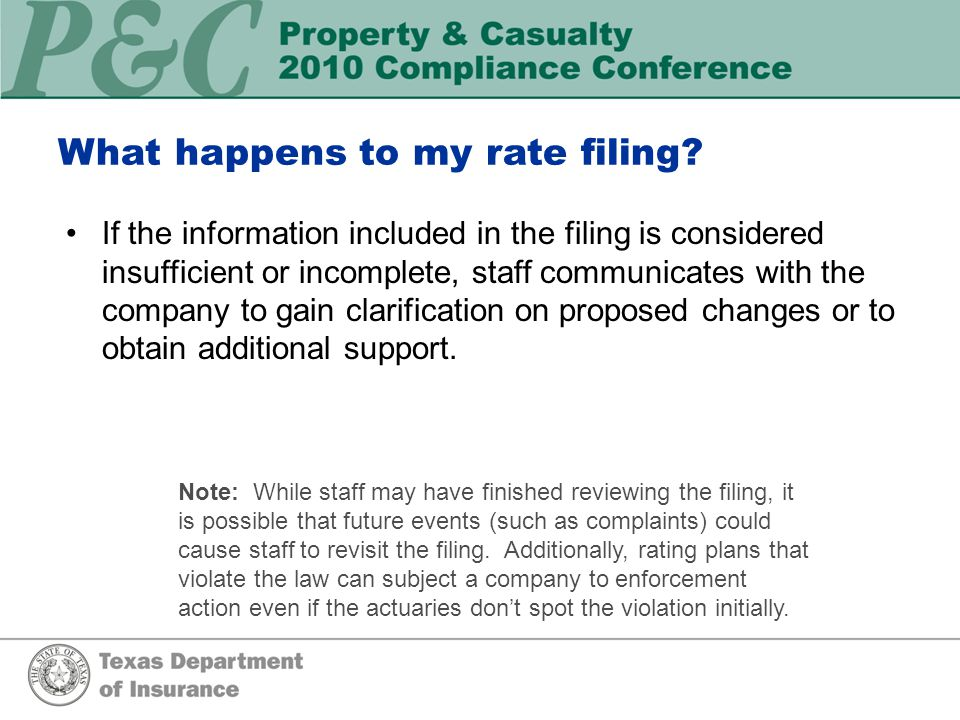 What happens to my rate filing. Rate filing received by Intake Unit.