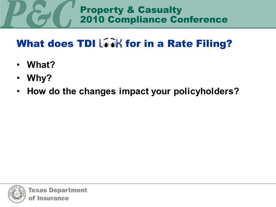 What needs to be included in a rate filing.