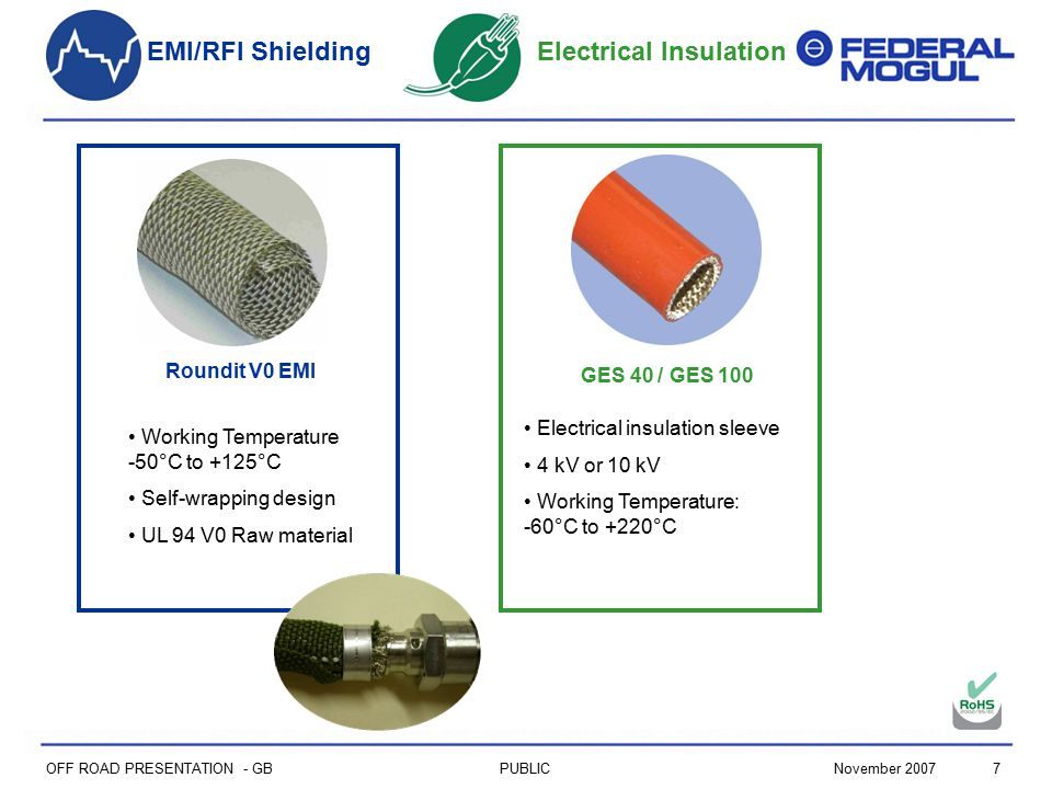 7PUBLICNovember 2007 OFF ROAD PRESENTATION - GB Electrical Insulation GES 40 / GES 100 Electrical insulation sleeve 4 kV or 10 kV Working Temperature: -60°C to +220°C EMI/RFI Shielding Roundit V0 EMI Working Temperature -50°C to +125°C Self-wrapping design UL 94 V0 Raw material