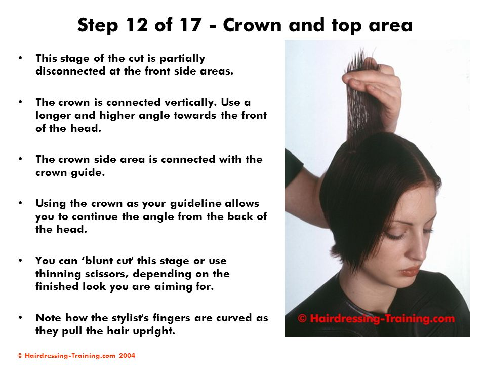 © Hairdressing-Training.com 2004 Step 12 of 17 - Crown and top area This stage of the cut is partially disconnected at the front side areas. The crown