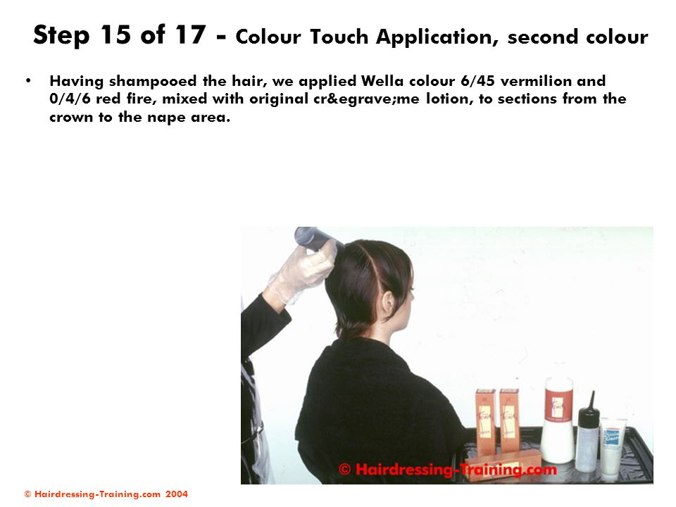 © Hairdressing-Training.com 2004 Step 15 of 17 - Colour Touch Application, second colour Having shampooed the hair, we applied Wella colour 6/45 vermi