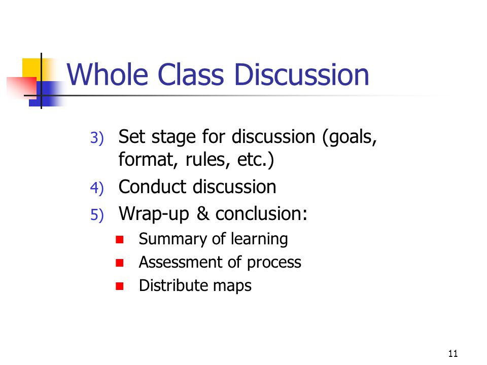 11 Whole Class Discussion 3) Set stage for discussion (goals, format, rules, etc.) 4) Conduct discussion 5) Wrap-up & conclusion: Summary of learning
