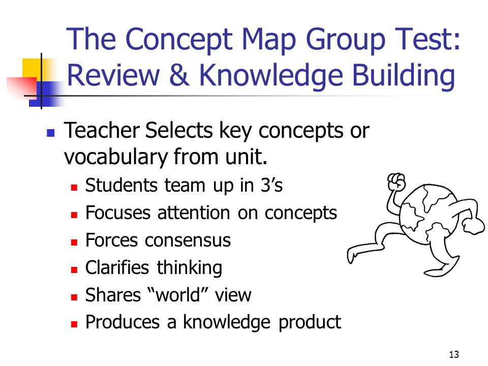 13 The Concept Map Group Test: Review & Knowledge Building Teacher Selects key concepts or vocabulary from unit.