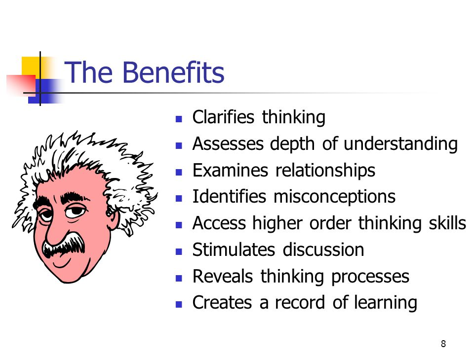 8 The Benefits Clarifies thinking Assesses depth of understanding Examines relationships Identifies misconceptions Access higher order thinking skills Stimulates discussion Reveals thinking processes Creates a record of learning