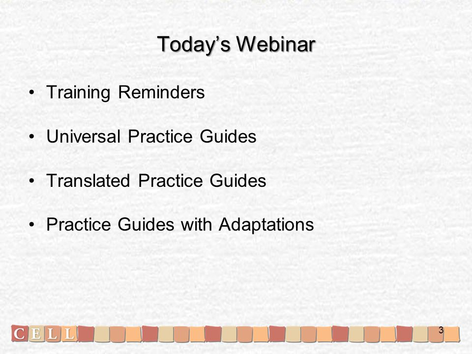 Today's Webinar Training Reminders Universal Practice Guides Translated Practice Guides Practice Guides with Adaptations 3
