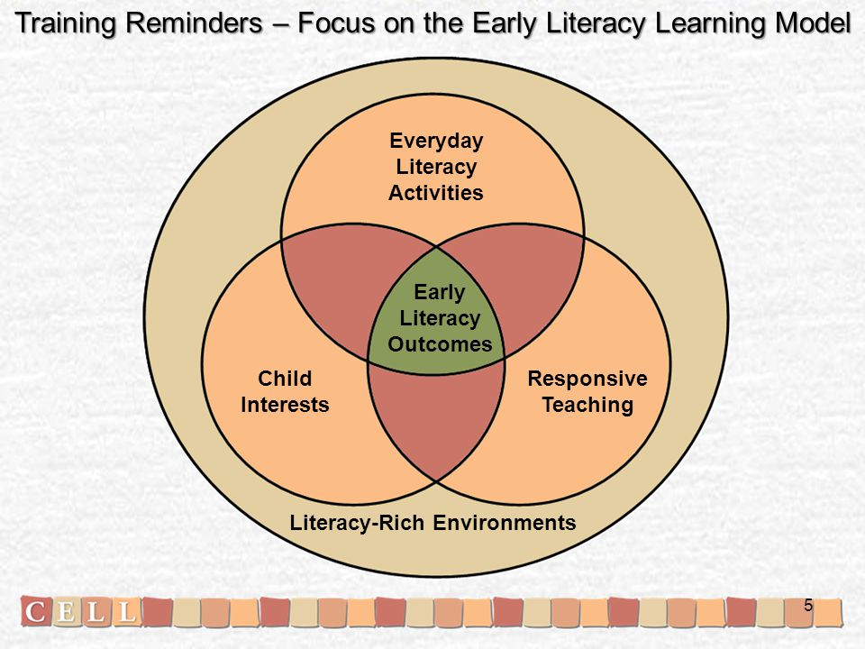 Literacy-Rich Environments Everyday Literacy Activities Early Literacy Outcomes Responsive Teaching Child Interests Training Reminders – Focus on the