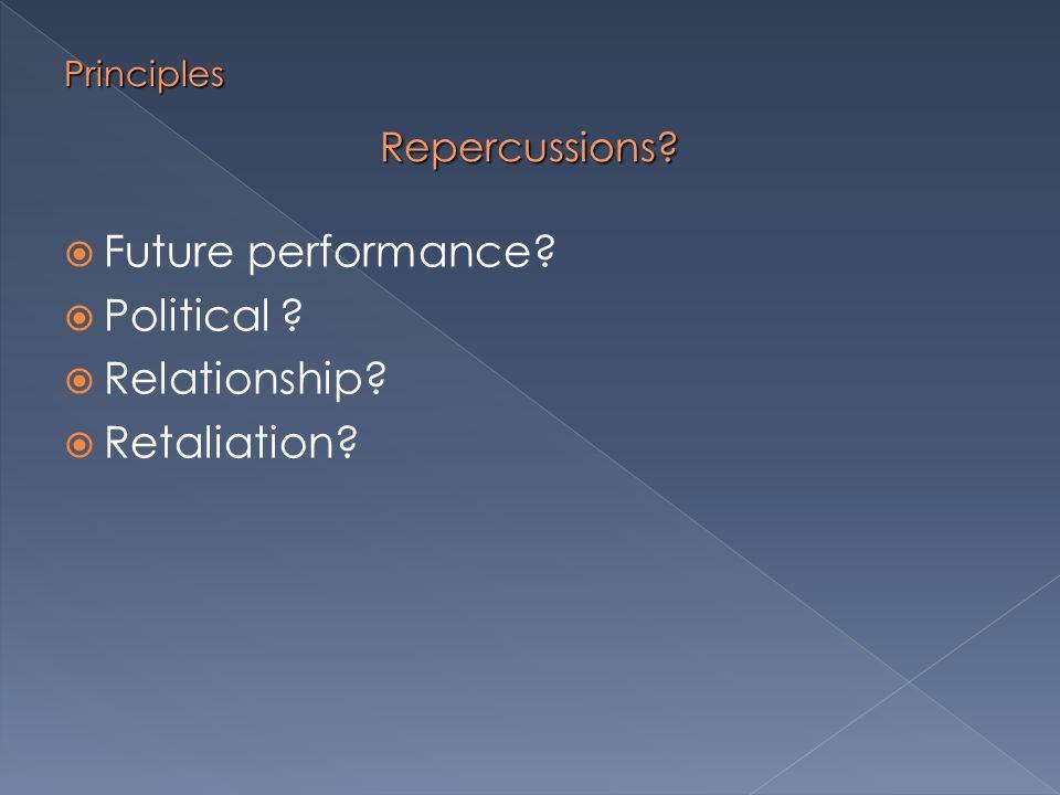 Repercussions  Future performance  Political  Relationship  Retaliation Principles