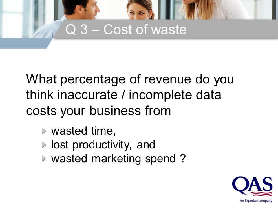 Q 3 – Cost of waste What percentage of revenue do you think inaccurate / incomplete data costs your business from wasted time, lost productivity, and