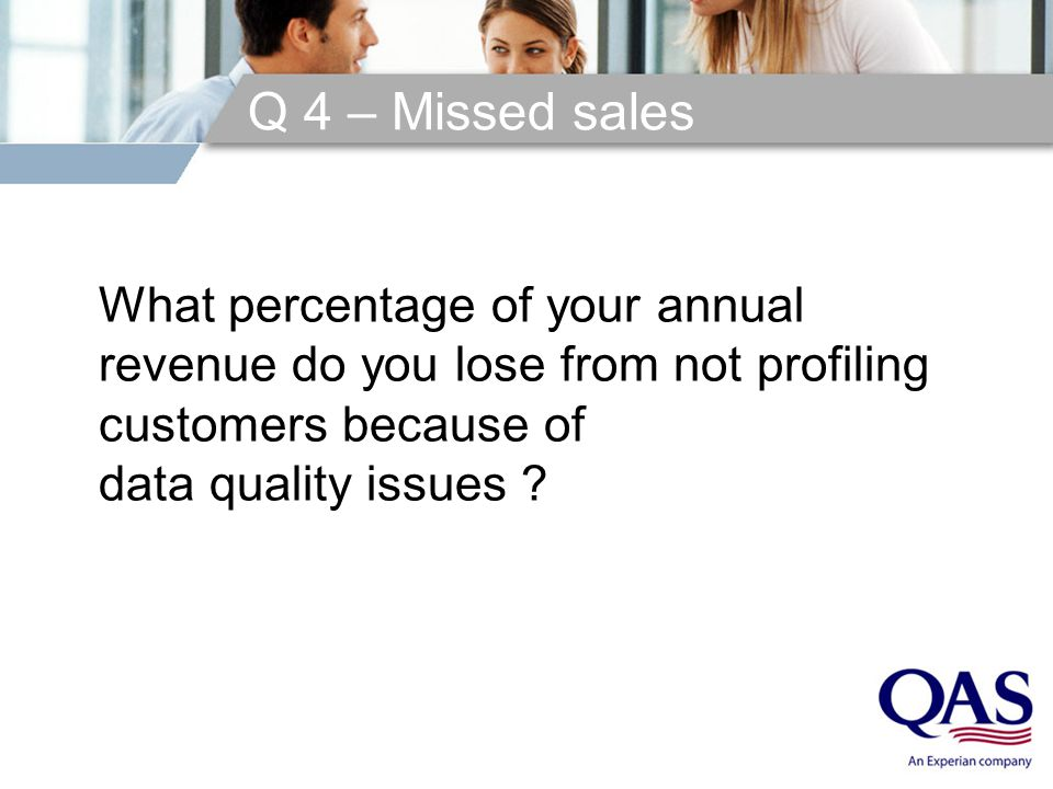 Q 4 – Missed sales What percentage of your annual revenue do you lose from not profiling customers because of data quality issues ?