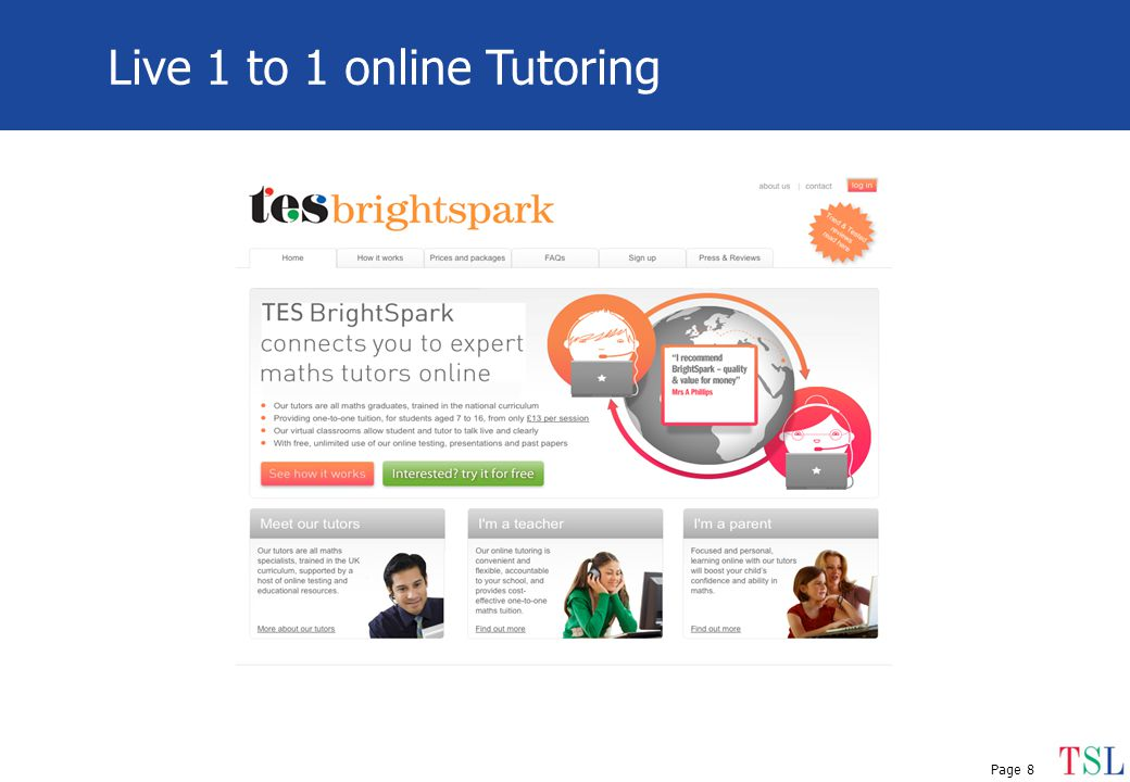 Page 8 Live 1 to 1 online Tutoring
