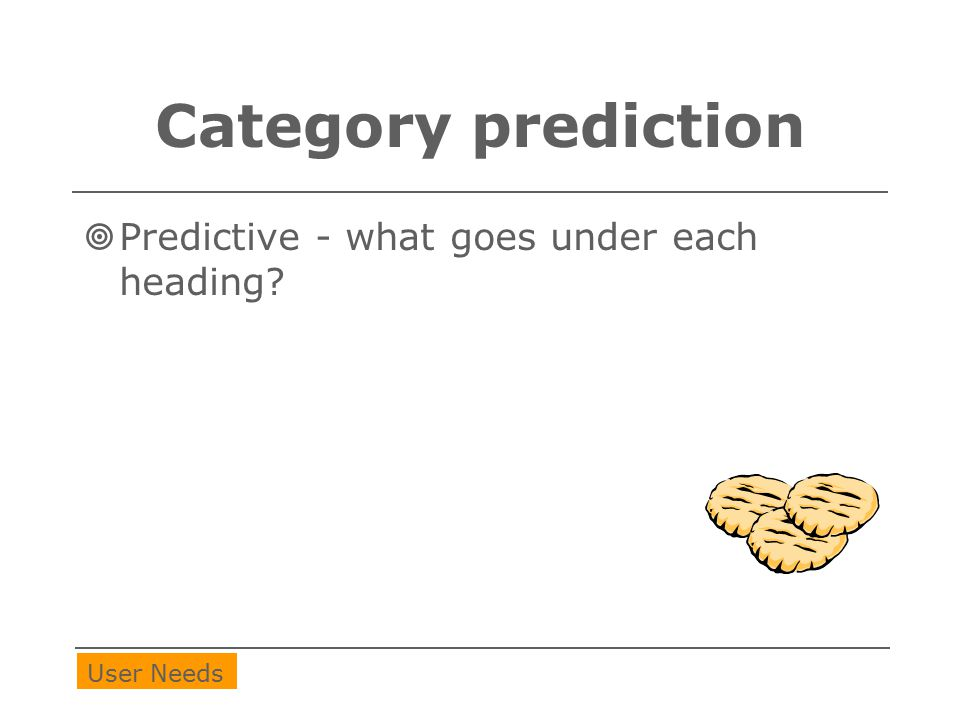 Category prediction  Predictive - what goes under each heading? User Needs