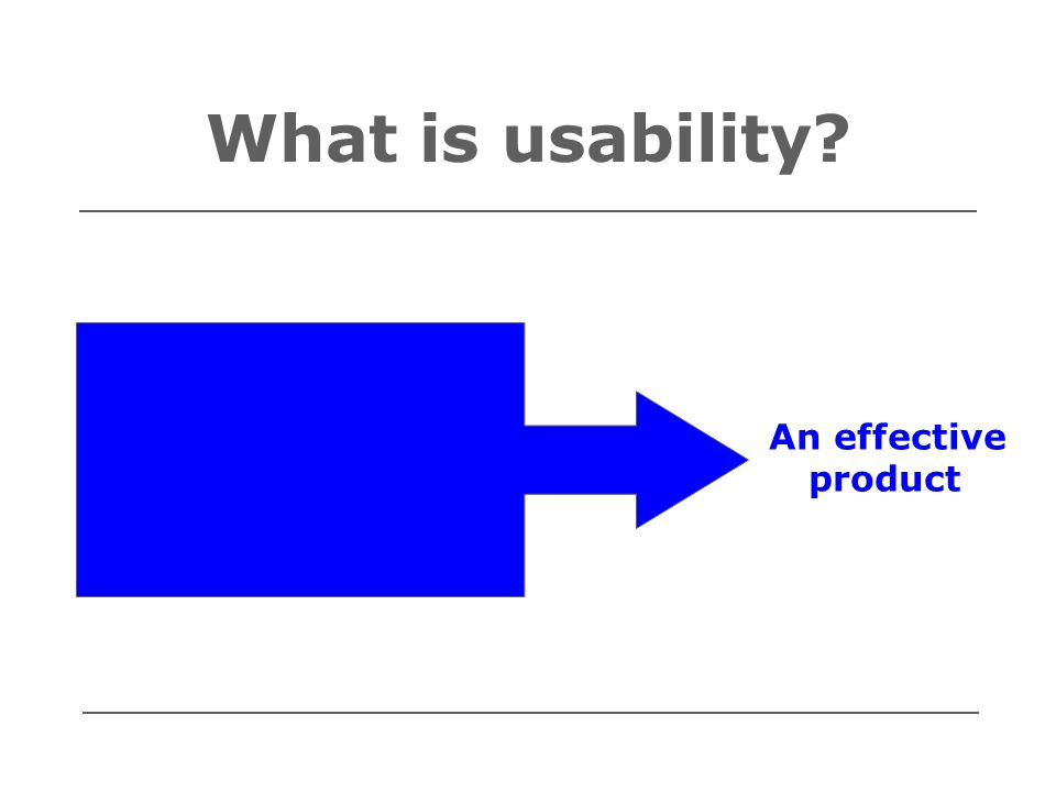 What is usability? Ease of use Ease of learning Fitness for purpose An effective product