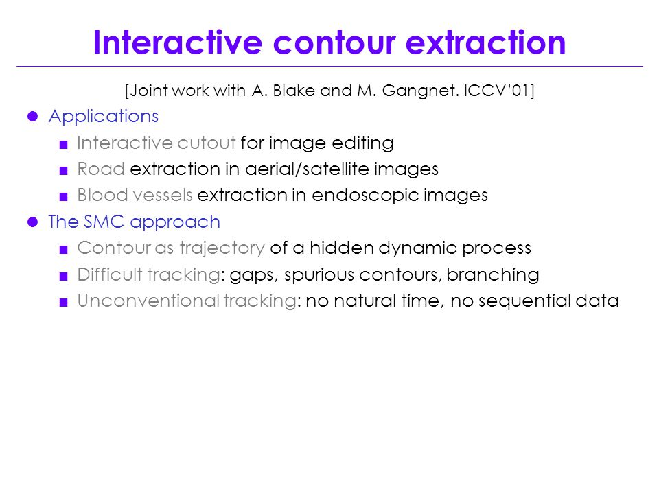 Interactive contour extraction [Joint work with A.