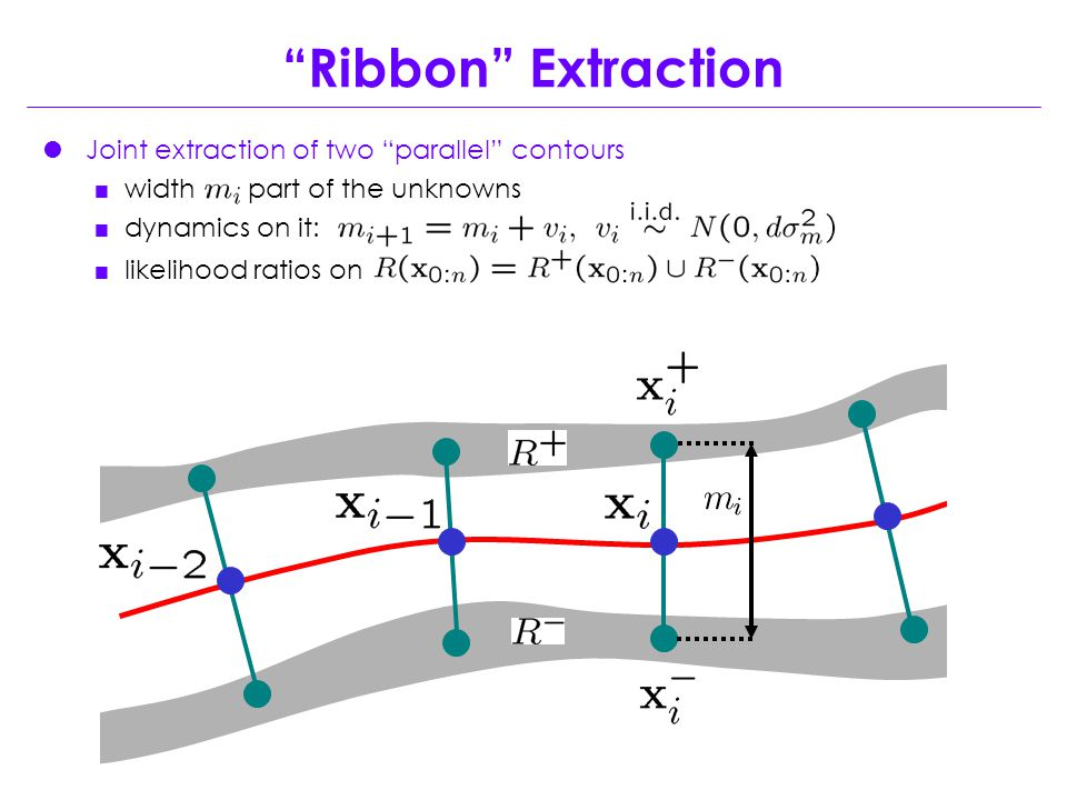  Joint extraction of two parallel contours  width part of the unknowns  dynamics on it:  likelihood ratios on Ribbon Extraction