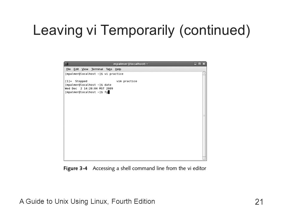 A Guide to Unix Using Linux, Fourth Edition 21 Leaving vi Temporarily (continued)