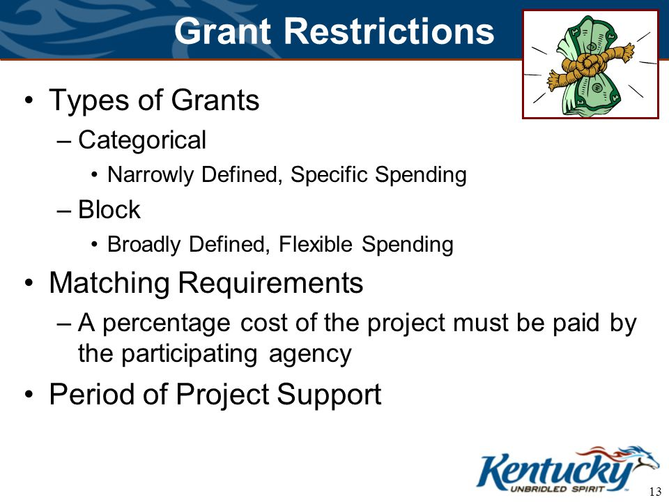 13 Grant Restrictions Types of Grants –Categorical Narrowly Defined, Specific Spending –Block Broadly Defined, Flexible Spending Matching Requirements –A percentage cost of the project must be paid by the participating agency Period of Project Support