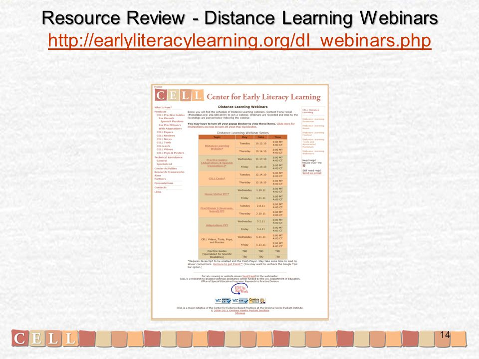 Resource Review - Distance Learning Webinars Resource Review - Distance Learning Webinars http://earlyliteracylearning.org/dl_webinars.php http://earlyliteracylearning.org/dl_webinars.php 14