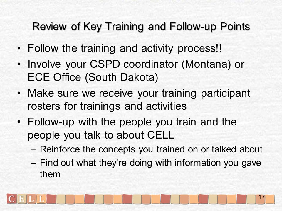 Review of Key Training and Follow-up Points Follow the training and activity process!.