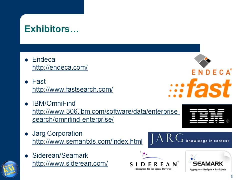 3 Exhibitors… Endeca http://endeca.com/ http://endeca.com/ Fast http://www.fastsearch.com/ http://www.fastsearch.com/ IBM/OmniFind http://www-306.ibm.com/software/data/enterprise- search/omnifind-enterprise/ http://www-306.ibm.com/software/data/enterprise- search/omnifind-enterprise/ Jarg Corporation http://www.semantxls.com/index.html http://www.semantxls.com/index.html Siderean/Seamark http://www.siderean.com/ http://www.siderean.com/