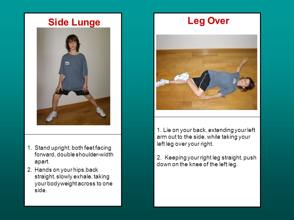 Side Lunge 1.Stand upright, both feet facing forward, double shoulder-width apart.
