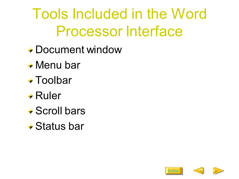 home Tools Included in the Word Processor Interface Document window Menu bar Toolbar Ruler Scroll bars Status bar