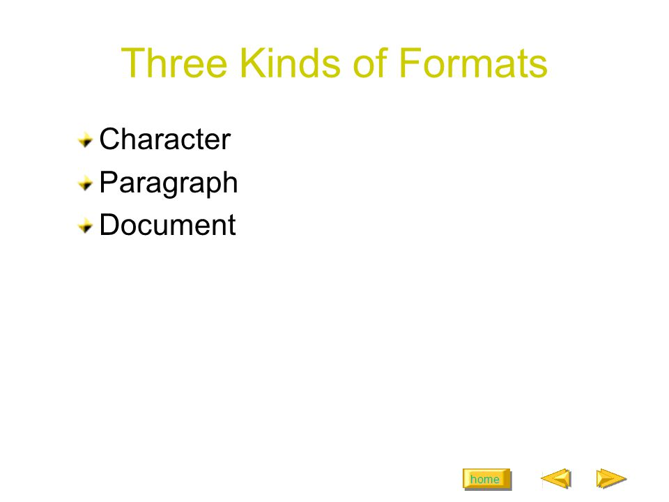 home Three Kinds of Formats Character Paragraph Document