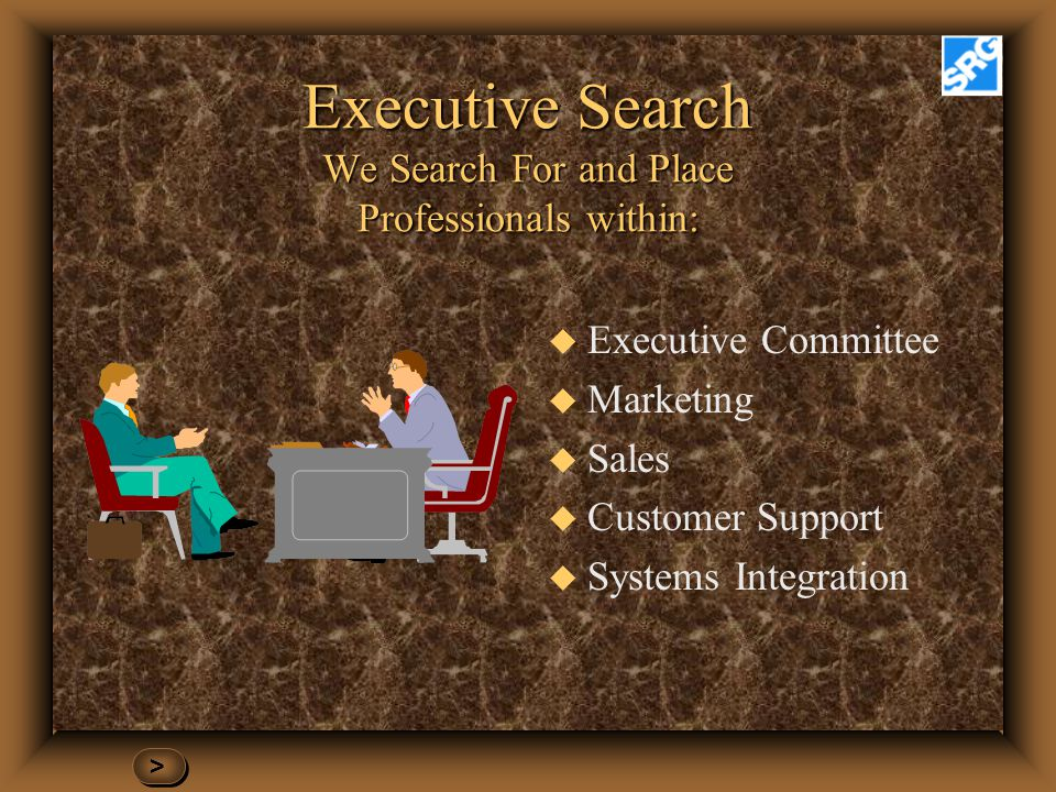 Executive Search We Search For and Place Professionals within: u Executive Committee u Marketing u Sales u Customer Support u Systems Integration > >