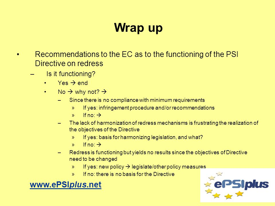 Recommendations to the EC as to the functioning of the PSI Directive on redress –Is it functioning.