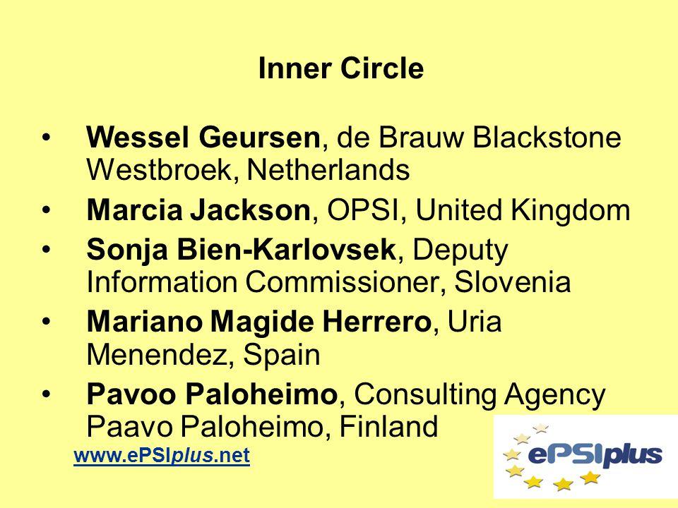 Wessel Geursen, de Brauw Blackstone Westbroek, Netherlands Marcia Jackson, OPSI, United Kingdom Sonja Bien-Karlovsek, Deputy Information Commissioner,