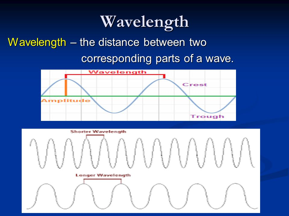 Wavelength Wavelength – the distance between two corresponding parts of a wave.