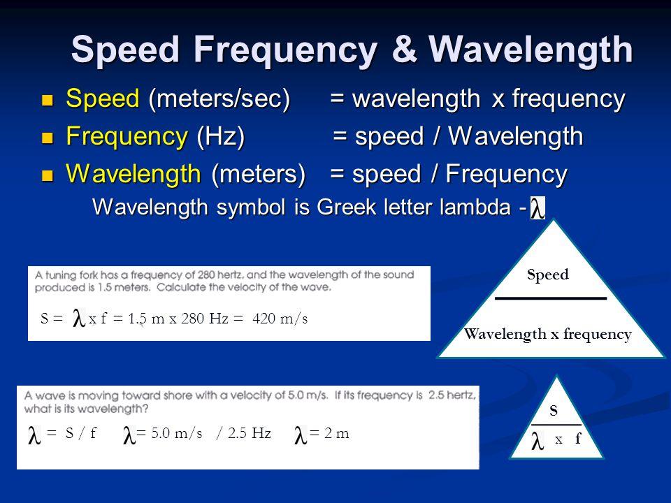 Speed (meters/sec) = wavelength x frequency Speed (meters/sec) = wavelength x frequency Frequency (Hz) = speed / Wavelength Frequency (Hz) = speed / Wavelength Wavelength (meters) = speed / Frequency Wavelength (meters) = speed / Frequency Wavelength symbol is Greek letter lambda - Wavelength symbol is Greek letter lambda - Speed Frequency & Wavelength Speed Wavelength x frequency S x f S = x f = 1.5 m x 280 Hz = 420 m/s = S / f = 5.0 m/s / 2.5 Hz = 2 m