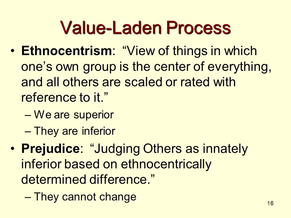 "16 Value-Laden Process Ethnocentrism: ""View of things in which one's own group is the center of everything, and all others are scaled or rated with re"