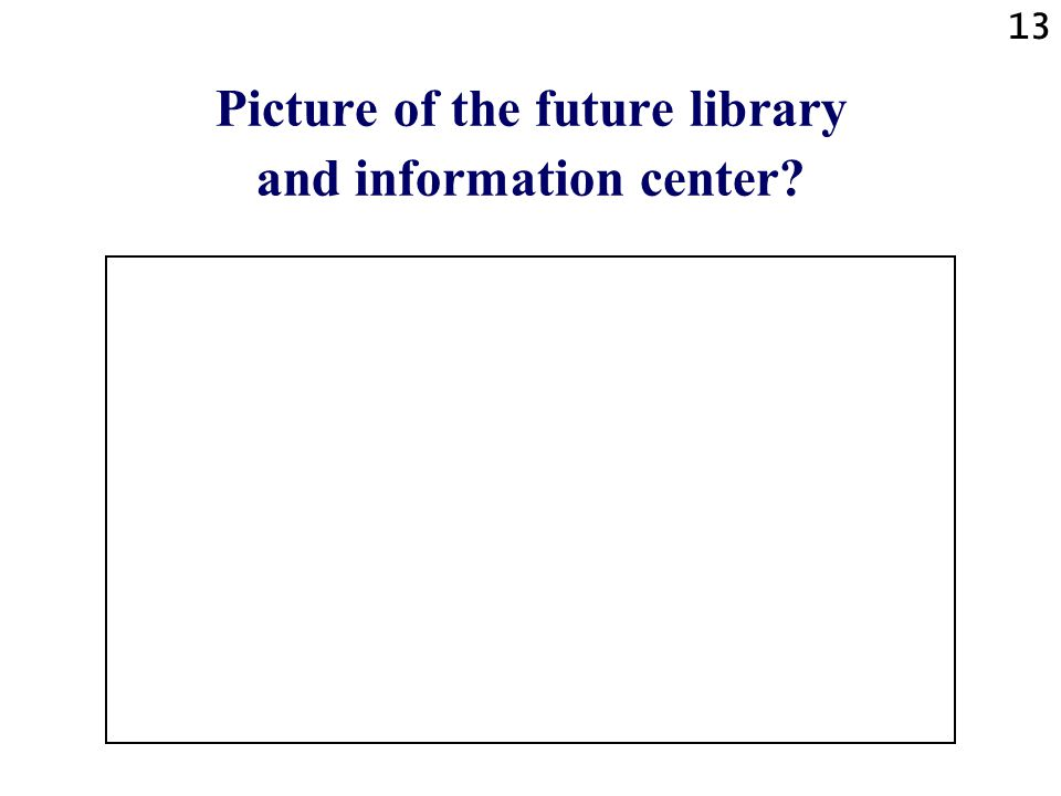 13 Picture of the future library and information center?