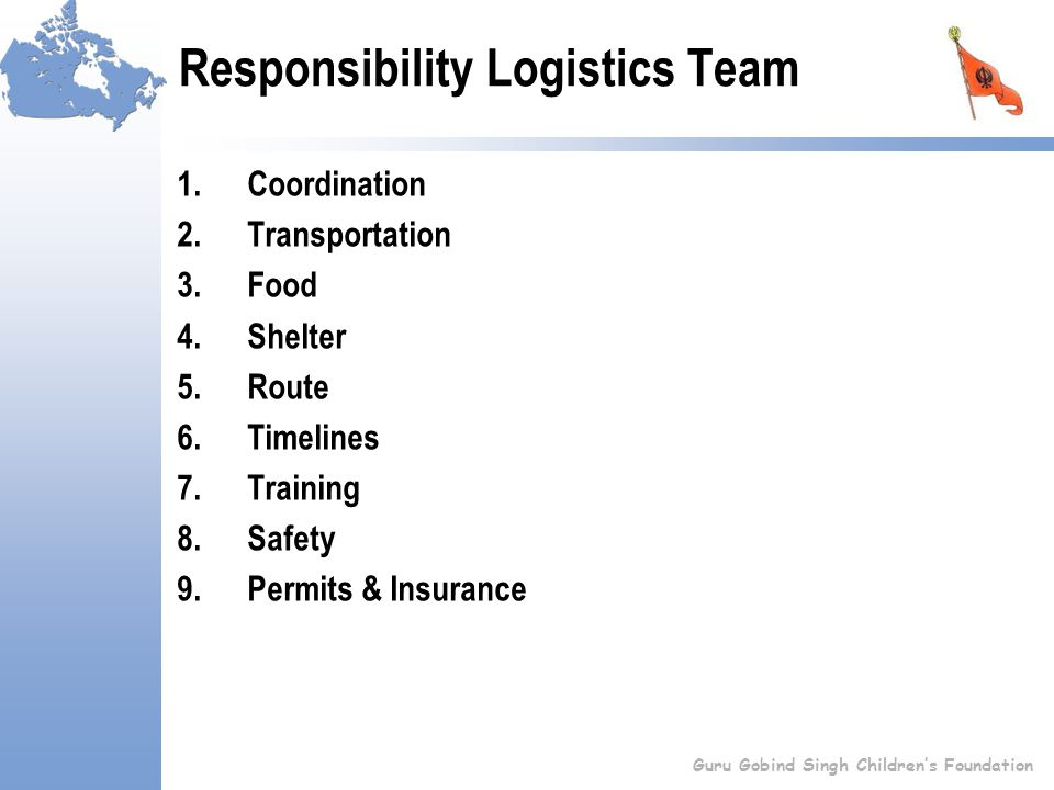 Responsibility Logistics Team 1.Coordination 2.Transportation 3.Food 4.Shelter 5.Route 6.Timelines 7.Training 8.Safety 9.Permits & Insurance Guru Gobind Singh Children's Foundation